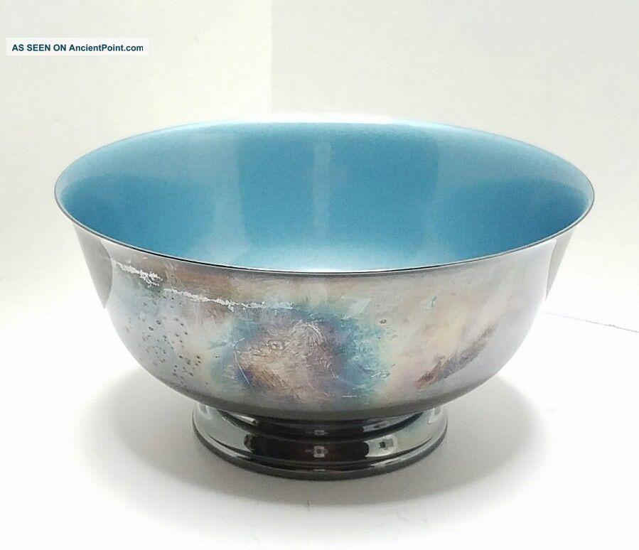 Vintage Reed & Barton 1120 Silverplate Bowl Aqua Teal Enamel Bowls photo