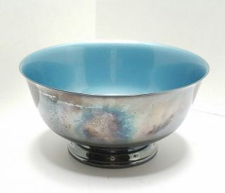 Vintage Reed & Barton 1120 Silverplate Bowl Aqua Teal Enamel photo