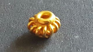 Viking 1 X 4.  2 Mm 24ct Solid Yellow Gold Bead photo
