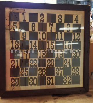 1800s Antique Handmade Gameboard Ink Checker Wood Frame Sign Typography Folk Art photo