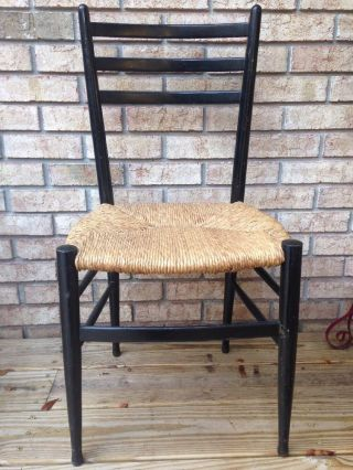 Mid Century Modern Made In Italy Geo Ponti Era Style Ladder Back Chair Rush Vtg photo