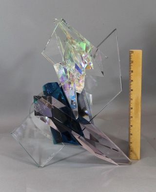 Lrg Grant Miller American Contemporary Abstract Aurora Borealis Glass Sculpture photo