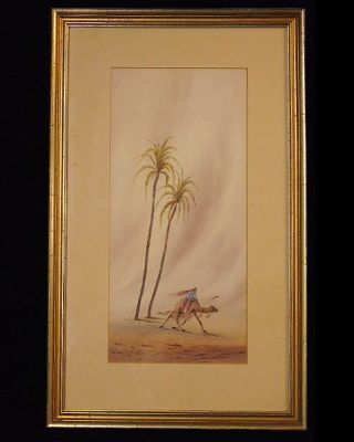 Signed Art Deco Egyptian Moroccan Desert Camel Palm Trees Watercolor Painting photo