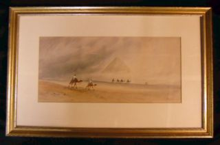 Signed Art Deco Egyptian Moroccan Desert Camels Pyramids Watercolor Painting photo