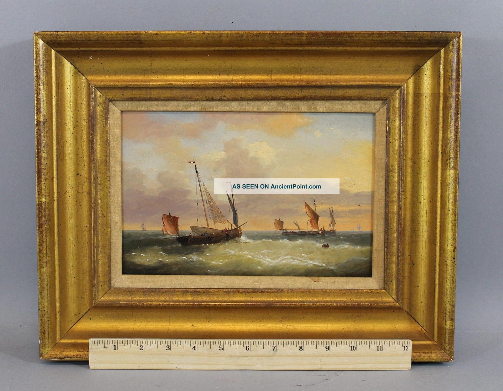 Antique Louis Charles Verboeckhoven Dutch Fishing Boats Seascape Oil Painting Nr Other Maritime Antiques photo