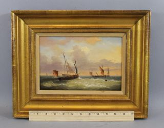 Antique Louis Charles Verboeckhoven Dutch Fishing Boats Seascape Oil Painting Nr photo
