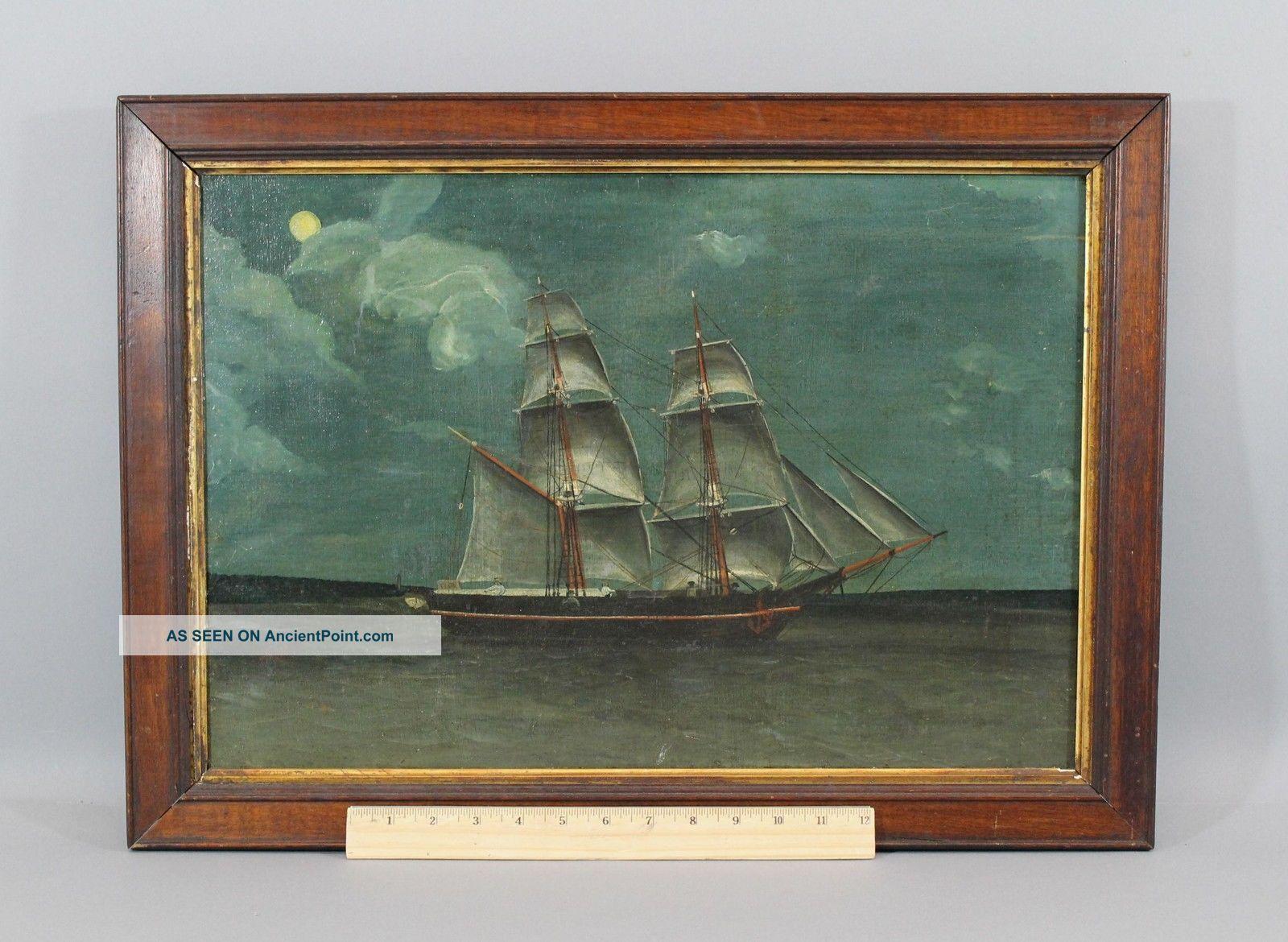 19thc Antique Folk Art Maritime O/c Oil Painting Schooner Ship Moonlight Nr Folk Art photo