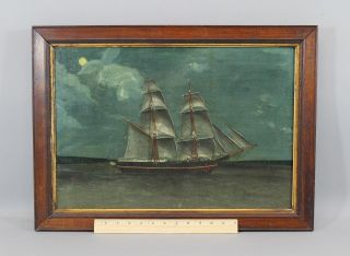 19thc Antique Folk Art Maritime O/c Oil Painting Schooner Ship Moonlight Nr photo