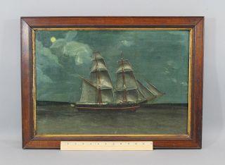 19thc Antique Folk Art Maritime O/c Oil Painting Schooner Ship Moonlight Nr photo