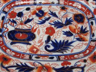 Antique 19th Century Porcelain Imari Pattern Charger Ashet Oval Dish Plate photo
