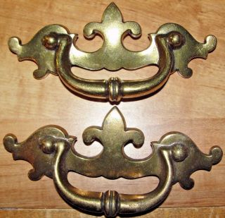 2 Nos Vtg Solid Brass Keeler Drawer Drop Bail Style Pull Handle 3