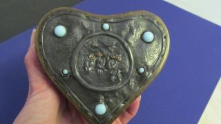 Antique Arts And Crafts Heart - Shaped Box With Key photo