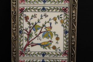 Vintage Framed Porcelain 3 Part Tile Wall Art Colorful Flowers & Birds 13