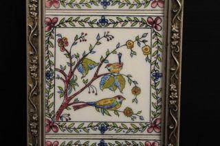 Vintage Framed Porcelain 3 Part Tile Wall Art Colorful Flowers & Birds 13