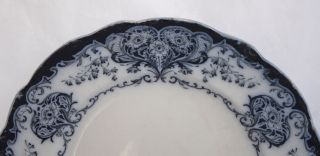 Antique Blue & White Flow Art Nouveau Dinner Plate 23.  3cm - Possibly George Jones photo