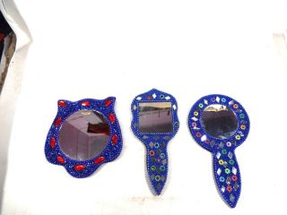 3 Decorative Beaded Hand Mirror Antique Style Fancy Glitter Work Mirror photo