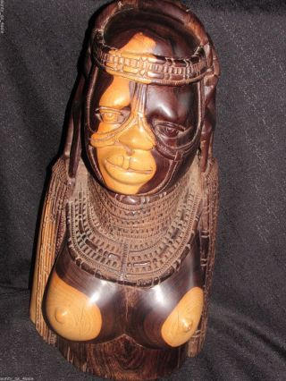 Rare Vintage Monumental Kenya Neem Mpingo Rosewood Carved Bust Approx. ,  32lbs photo
