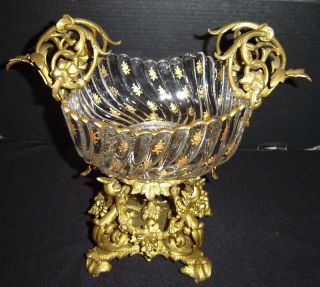 Antique French Empire Napoleon Iii Bronze Dore And Glass Center Piece Bowl C1870 photo