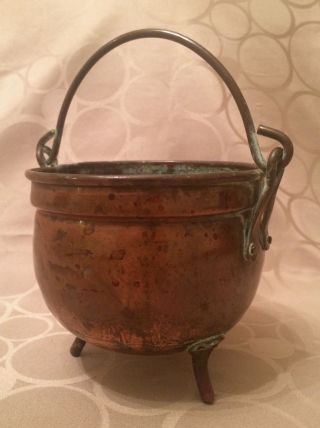 Antique 19th Century Dutch Solid Copper Cauldron Hand Hammered Arts And Crafts photo