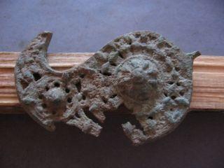 Large Belt Buckle Ancient Celtic Bronze Warriors Decoration 300 - 100 B.  C.  76 Mm photo