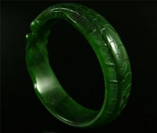 Antique Old Chinese Nephrite Spinach Green Jade Bracelet Bangle Fish Style photo