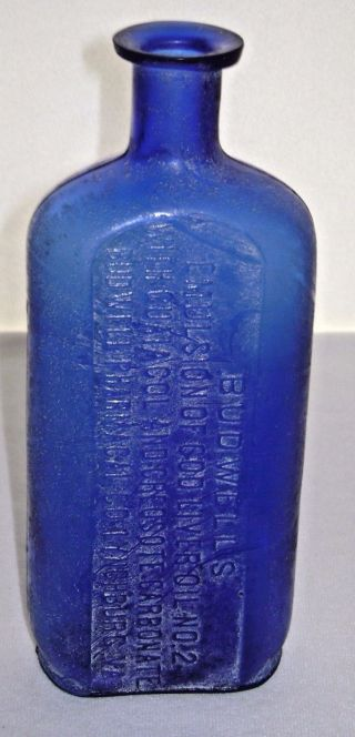 1898 Cobalt Blue Medicine Bottle Embossed Budwell ' S Cod Liver Oil Lynchburg Va. photo