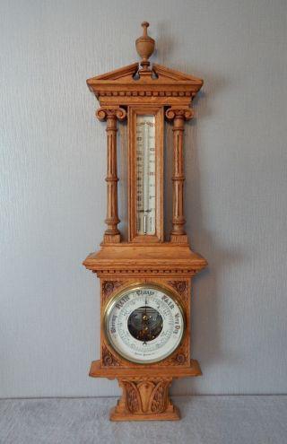 Antique Beringer & Schwerer Light Oak Architectural Cased Barometer,  Thermometer photo
