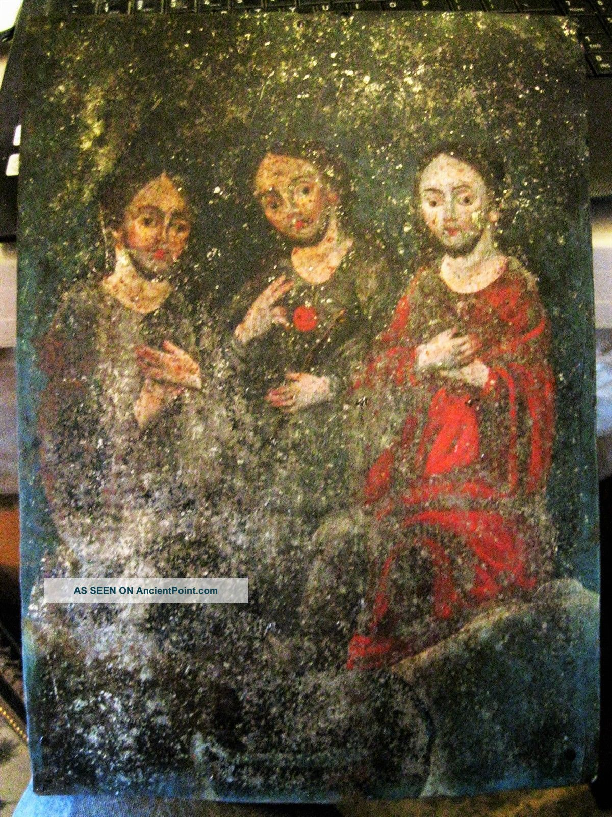 Antique Retablo On Tin With The Image Of The Holy Trinity 10  By 14 Latin American photo