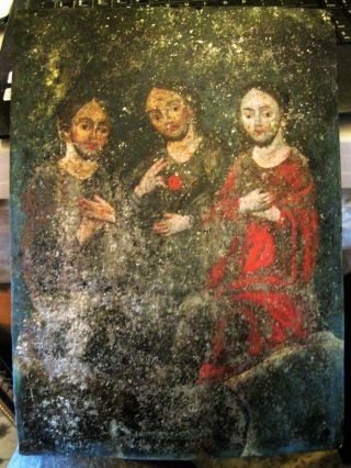 Antique Retablo On Tin With The Image Of The Holy Trinity 10  By 14 photo
