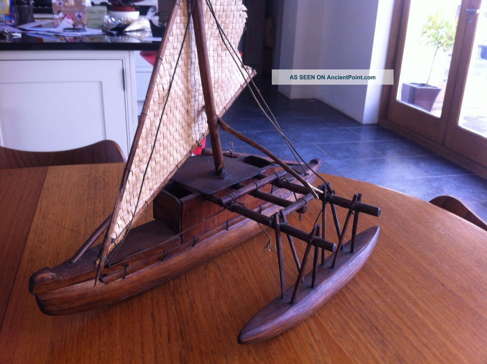 Fijian Wooden Outrigger Boat Model Hand Carved Vintage Ethnic Pacific Islands & Oceania photo