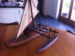 Fijian Wooden Outrigger Boat Model Hand Carved Vintage Ethnic photo