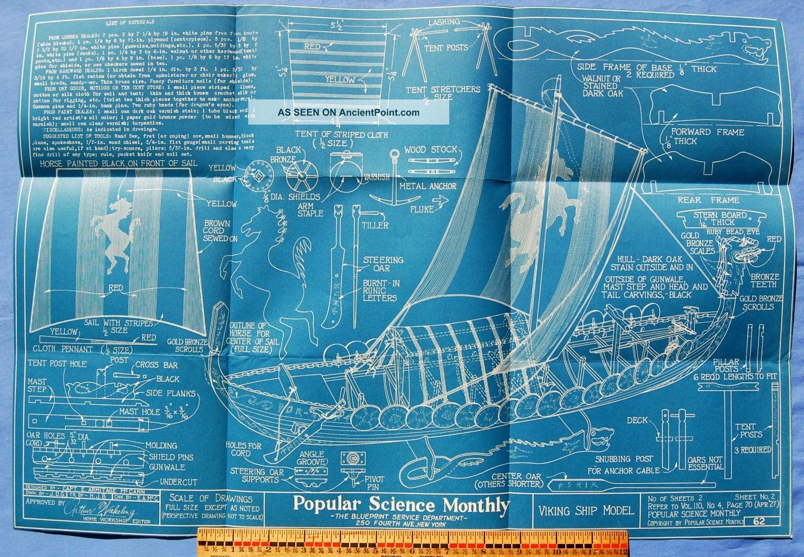 Viking Ship Model,  Plans & Blueprint,  1927 By Capt.  E.  A.  Mccann Model Ships photo
