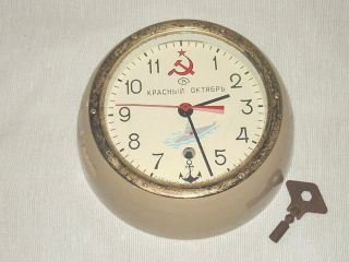 Russian Submarine/maritime Wall Clock W/key Vostock Made In Russia Gc Nr photo