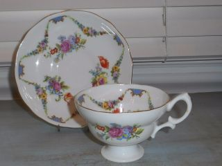 Hammersley & Co.  Bone China Gold Rim Floral Tea Cup And Saucer England photo