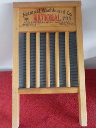 Vintage Wooden National Washboard Co National No.  701 Zinc King (sh) photo