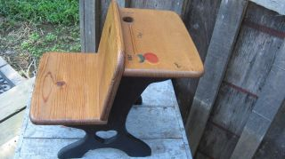 Vintage Hand Made Solid Wood Child ' S Or Doll / Bear Primitive School Desk Chair photo