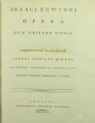 Newton Opera Omnia Complete 1779 - 85 Principia Mathematica Optics 5v 1st Nr photo