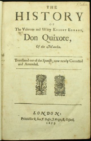 Cervantes Don Quixote 1675 - 72 2parts Shelton Translation Folio 17th C.  Calf Nr photo