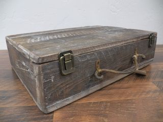 Vintage Style Reclaimed Wood Box Suitcase W/hinged Lid Urban Rustic Industrial photo