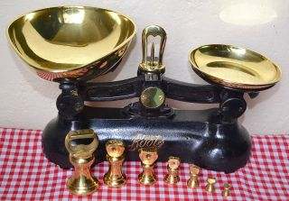 Vintage English Black Boots Cash Chemists Kitchen Scales 7 Brass Bell Weights 2 photo