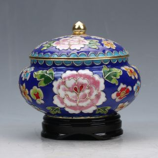Chinese Collectable Cloisonne Handwork Poeny Pattern Pots photo