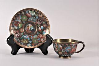 Antique Japanese Cloisonne Enamel Tea Cup And Saucer Meiji Period photo