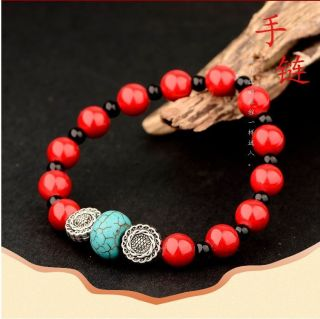 Natural Red Coral & Tibet Silver Handwork National Fashion Bracelet @aa30 photo