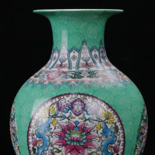Chinese Famille Rose Porcelain Hand - Painted Dragon & Flower Vase W Qianlong Mark photo