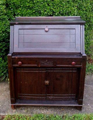 Antique Eastlake Style Carved Arts & Crafts Drop Front Desk Drawer Cabinet photo