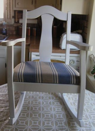 Child ' S Children Kid Rocking Chair White Rocker Blue Striped Padded Seat Cushion photo
