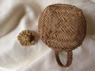 Lovely Antique Miniature,  Lidded Native American Basket,  Likely Woodlands photo