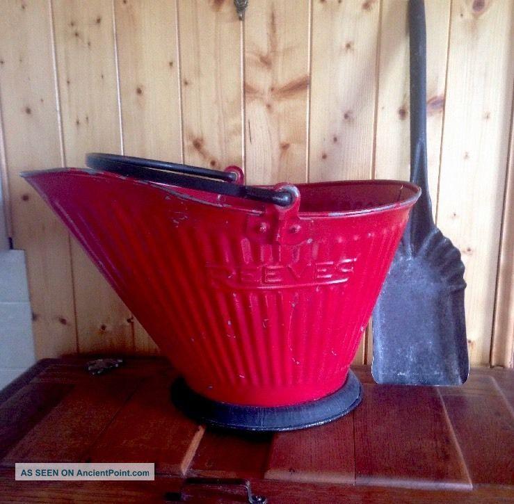Antique Reeves Coal Ash Metal Scuttle Bucket Primitive 17 & Metal Ash Shovel Hearth Ware photo