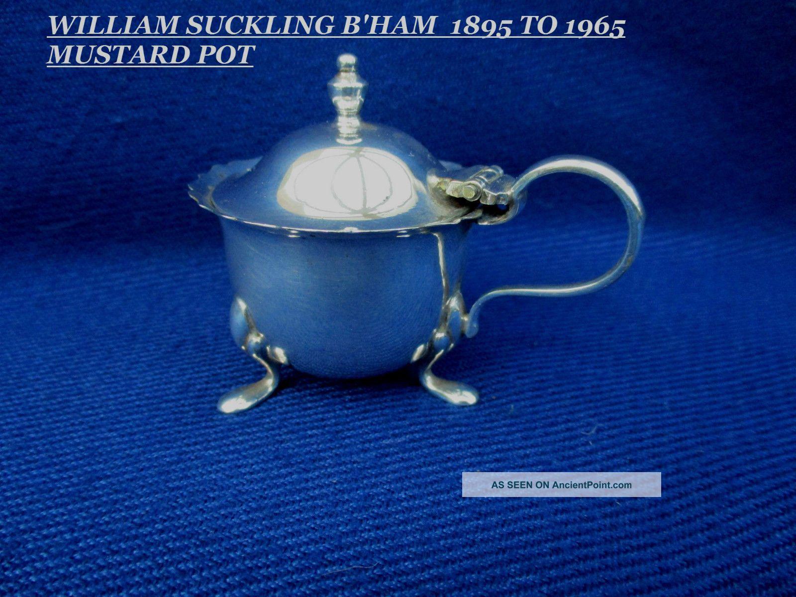 Vintage William Suckling Mustard Pot - Regis Plate - Early 20th Mustard Pots photo