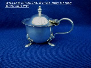 Vintage William Suckling Mustard Pot - Regis Plate - Early 20th photo